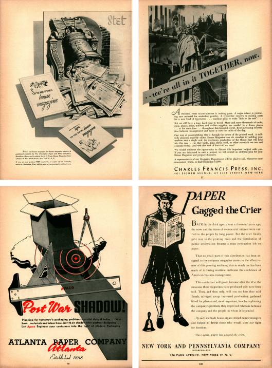 Advertisements from the 1944 Printers' Ink Directory of House Organs.