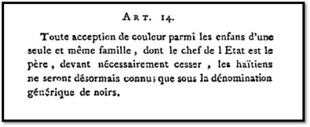 Constitution d'Haïti,(Aux Cayes, 1805). Article 14. Courtesy of the American Philosophical Society, Philadelphia. Images available at www.modern-constitutions.de.