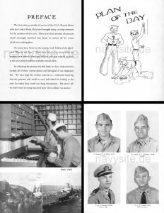 Selected pages from USS Marcus Island (CVE 77) World War II Cruise Book, 1944-45, hosted at navysite.de.